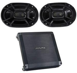 """Alpine BBX-T600 300w 2 Channel Car Amplifier Amp+(2) 6x9"""" Polk Audio Speakers"""