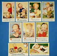 Collection of 9 Vintage Bamforth Comic Tempest Kiddy Series Postcards AM6