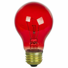 NEW (PACK OF 2) 25W 120V INCANDESCENT A19, E26 BASE TRANSPARENT RED LIGHT BULB