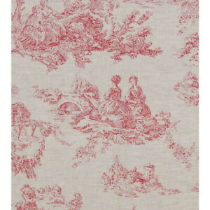 Curtains - Cabbages and Roses - Toile De Poulet Natural Raspberry - Pencil Pleat