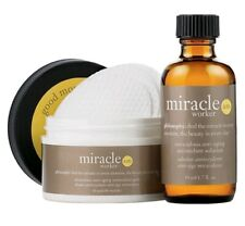 NEW PHILOSOPHY MIRACLE WORKER AM DAY SET PADS 60 CT SOLUTION 2 OZ *SHELFWARE*