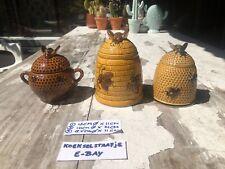3 X Ceramic 🐝 Beehive 🍯 Honeypot Bee Honey  Retro Mid Century Honingpot Honing