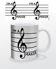 I´M A TREBLE MAKER 11 OZ COFFEE MUG ART MUSIC PIANO LYRICS INSTRUMENT TONES CLEF