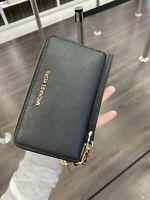 New! Michael Kors Jet Set Travel Large Flat Zip Phone Case Wristlet Wallet Black