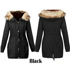 Ladies Womens Jacket Hooded Winter Top Parker Parka Long Coat Size SMLXL Outwear Black Uk22-24
