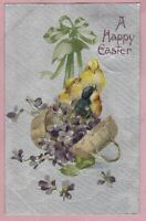 "Ca. 1908  ""3 Chicks in a Basket"" Easter Holiday Greetings Postcard - 1139"