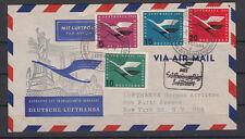 Bund Mi.-Nr. 205 - 208 206I Luftpost Beleg Sonderstempel Erstflug nach New York