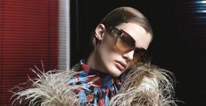 $550 NEW Genuine PRADA Beige Havana Catwalk Shield Sunglasses SPR 16T VIR1G0