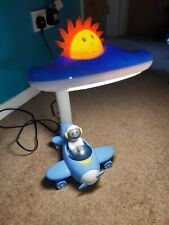 Kids Bedroom Flexible Blue Areoplane And Pilot Childrens Table Lamp/Night Light