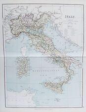 Vecchia ANTICA MAPPA ITALIA SARDEGNA CORSICA SICILIA c1879 da G PHILIP STAMPATA A COLORI
