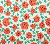 White Green Coral Orange Roses Cotton Quilt Fabric Windham Sweet Floral Summer