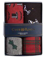 CLUB ROOM NEW Mens 4-Pack Gentleman Print Dress Socks 2 Red/Grey/Black Sz 7-12