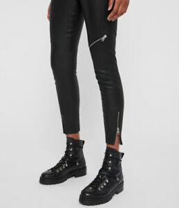 All Saints Womens Kiriva Biker Designer High Rise Skinny Leather Look Leggings
