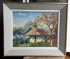 TABLEAU signé Peinture huile toile HST paysage montagne Alpes chapelle nature