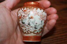 Antique Japanese Kutani Miniature urn jar Satsuma gold gilt bird crane porcelain