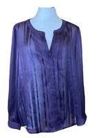 ANN TAYLOR LOFT Women's Large Purple Glitter Sheer Long Sleeve Career