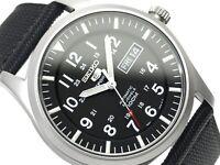 New Seiko Men's BLACK Miltary Watch SNZG15 SNZG15K1 Warranty, Box
