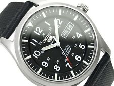 New Seiko Men's BLACK Miltary Watch SNZG15 SNZG15K1 Warranty, Box
