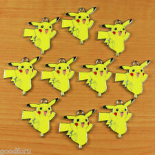 10pcs Pokemon Pikachu Metal Enamel Charm Pendants Birthday Jewelry Making Crafts