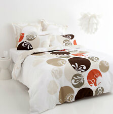 5 Pce MALIBU Brown Reversible KING Quilt Doona Cover Set 300TC 100% Cotton