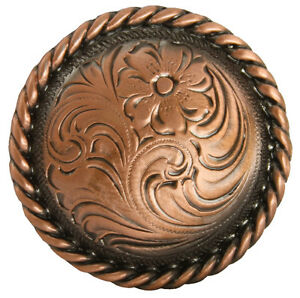 """WESTERN SADDLE HEADSTALL HORN CAP COPPER COLOR ROPE EDGE CONCHO 2-3/8"""" screwback"""