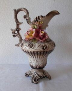 große italienische Keramik Kanne mit Rosenblüten, Capodimonte, ca. 35 cm