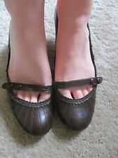 Ravel size 4 choc brown mary janes 60s  leather court shoes size 4