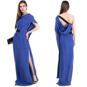 RRP €2445 ROLAND MOURET Silk Column Dress Size UK 12/L Draped Unlined Asymmetric