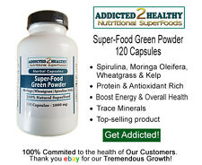 120 SuperFood Green Powder Capsules-Top Seller-Moringa+Wheatgrass+Spirulina+Kelp