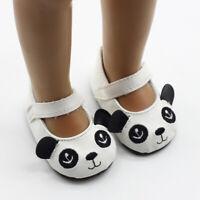 Chaussures de Poupée Plates Sangle Motif Panda Pour 18'' AG American Doll Doll