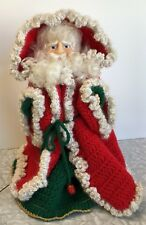 Vintage Handmade Knitted Crochet Santa Claus Doll With Stand
