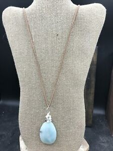 Barse Amazonite & Pearl Necklace- Leather & Sterling Silver- NWT