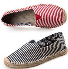 Mens Women Leisure Shoes Slip On Casual Canvas Striped Espadrilles Flat Pumps