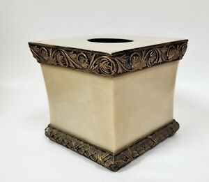FANCY BEIGE MARBLE LOOK, BROWN,BRONZE DESIGN RESIN,3D TISSUE BOX NAPKIN HOLDER