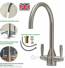 Brushed Steel Kitchen Tap Sink Mixer Mono Swivel Spout Dual Lever Luxury Design