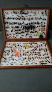 Wooden Box of Trout Flies (2)