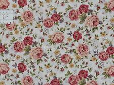 15,27€/m² - 25cmx110cm:  ROSEN + Blumen auf Weiss - Japan Patchworkstoff