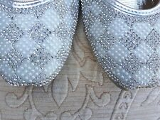 SILVER INDIAN LADIES WEDDING PARTY KHUSSA SHOES SIZE 7