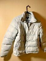 Lands End Down Puffer Coat Women's Silver Grey Medium Full Zip Jacket M