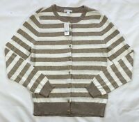 NWT Women's New York & Company Tan Gold Fleck and Ivory Striped Cardigan Sweater