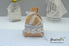 Hessian Favor Bags Wedding 25 x Burlap Bow Lace Ribbon Goody Fillers Thanks
