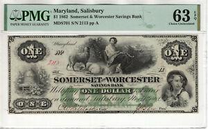 1862 $1 SOMERSET & WORCESTER SAVINGS BANK SALISBURY MARYLAND NOTE PMG CU 63 EPQ