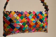 Purse Made with Recycled Repurposed Candy Wrappers with Strap and Zipper closure