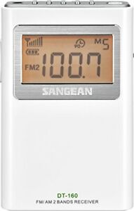 Sangean DT-160 AM/FM Stereo Pocket Radio with 100 Operating Hours on 2 AA Bat...