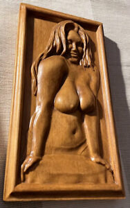 "Wood Carving Nude 5"" x 10"" x 1.25"" Bas-Relief Adult Star ""Jas Grey"" From a PHOTO"