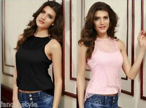 Women's Lace Flyaway Tank Vest Top T-Shirt PINK or BLACK Belly Fashion Summer