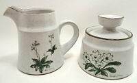 Noritake MOUNTAIN FLOWERS 8343 Stoneware China Creamer & Sugar Bowl w/Lid ~NICE!