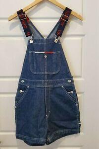 VTG TOMMY HILFIGER 2001 Denim Blue Jean Overalls Shorts Romper Jumper Size Small