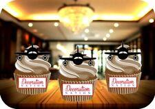 Aeroplane Landing Silhouette 12 Edible STANDUP Cake Toppers Decoration Birthday