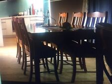 French Industrial Dining table Solid Oregon & 7 dining chairs (red)..make offer!